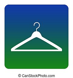 Hanger sign illustration. Vector. White icon at green-blue gradient square with rounded corners on white background. Isolated.