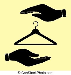Save or protect symbol by hands. - Hanger sign. Save or...