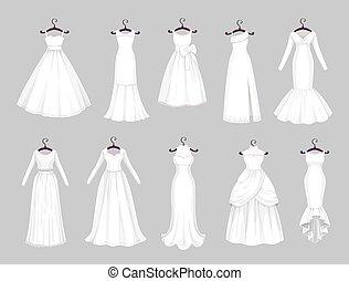 hangers, huwelijk, trouwfeest, witte kleding, kleren