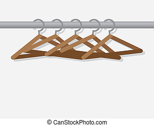 Hangers On Rod  - Wooden hangers on metal rod