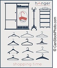 Hangers vector icons set
