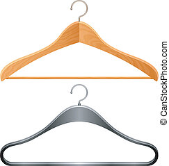 Hangers. - Wooden and plastic clothes hangers.