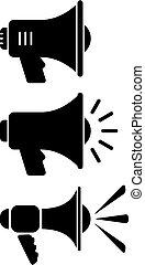 hangfal, vektor, árnykép, ikon