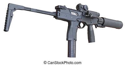 hangfogó, fehér, submachine pisztoly, elszigetelt