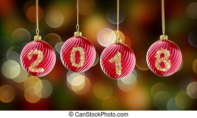 hanging 2018 number glitter Christmas balls on gold bokeh background. 3d rendering 4K