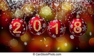 hanging 2018 number glitter Christmas balls on gold bokeh background. 4K