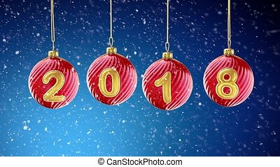 hanging 2018 number glitter Christmas balls on snow blue background. 4K