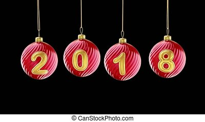 hanging 2018 number glitter Christmas balls on black background. 4K