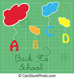 hanging abc - illustration of abc hanging from clouds