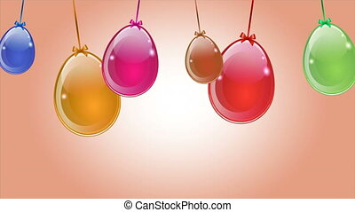 Hanging abstract colorful Easter eggs, art video...