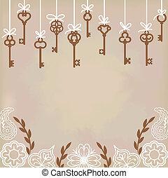 hanging antique skeleton keys with floral decoration