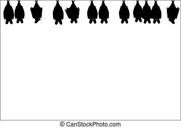 Illustration of hanging bats