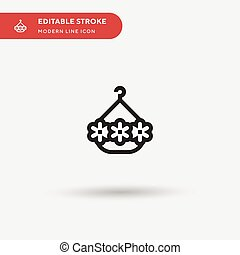 Hanging Basket Simple vector icon. Illustration symbol design template for web mobile UI element. Perfect color modern pictogram on editable stroke. Hanging Basket icons for your business project