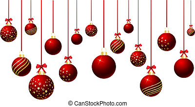 Hanging baubles - Hanging Christmas baubles on a white...