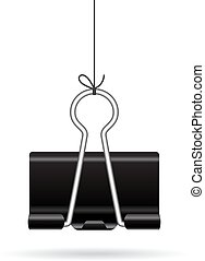 Hanging binder clip icon on white background