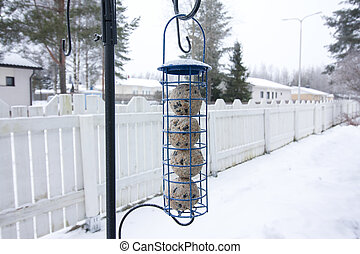 Hanging bird feeder at winter in Finland.
