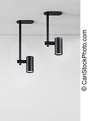 Hanging black lamps