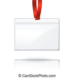 Hanging blank vector realistic horizontal badge holder with bright red light lace.  Vector