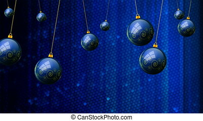 Hanging blue Christmas balls on a mosaic background