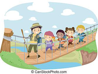 Hanging Bridge - Illustration of Campers Crossing a Hanging...
