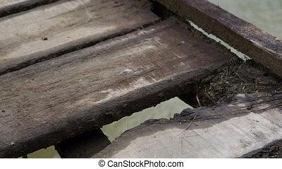 Hanging Bridge Old Deck Pan - Panning shot showing the...