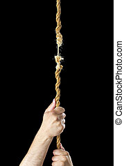 Hanging by a thread - Hands climbing a rope that breaks