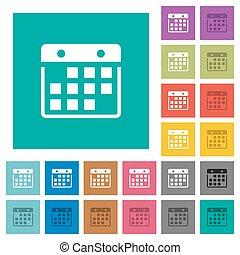 Hanging calendar square flat multi colored icons