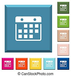 Hanging calendar white icons on edged square buttons