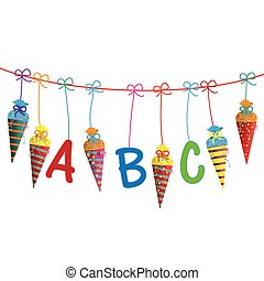 Hanging Candy Cones Line ABC - Candy cones with ABC letters...