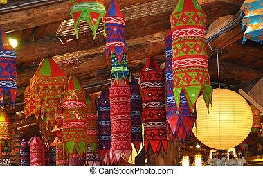 Hanging Chinese lanterns