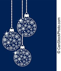 Hanging christmas ball baubles decorated with various white snowflakes and stars on blue background. Flat retro style. Vector EPS10 illustration for greeting card design