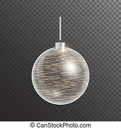 Golden christmas ball on transparent background. Bright jewelry with a light effect. Festive vector illustration.