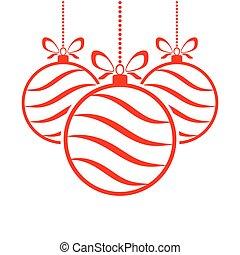 Hanging Christmas ball. Vector illustration.