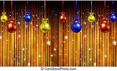 Hanging Christmas balls against the backdrop of shining stars