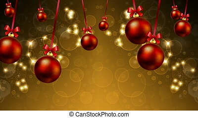 Hanging Christmas balls and festive background with highlights and bokeh