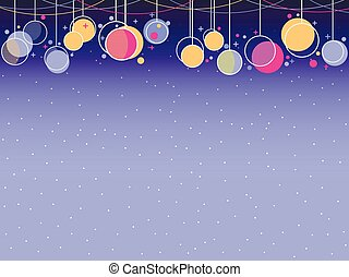 Hanging Christmas balls memphis style. Celebratory background with garlands. Vector illustration