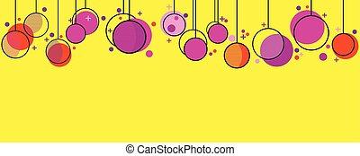 Hanging Christmas balls memphis style. Celebratory background with geometric shapes. Vector illustration