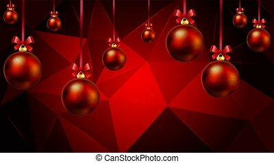 Hanging Christmas balls on a red triangular background