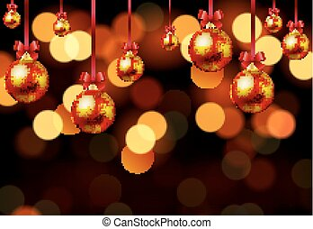 Hanging Christmas balls on bokeh background