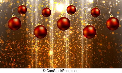 Hanging Christmas balls on the background bokeh