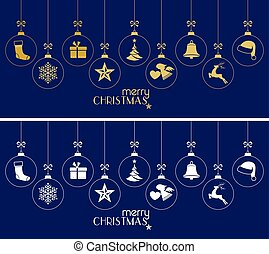 Hanging Christmas baubles, Christmas ornaments on dark blue