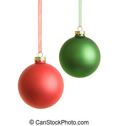 Hanging christmas baubles isolated on white background.
