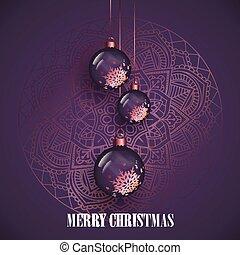 Hanging Christmas baubles on a decorative mandala design