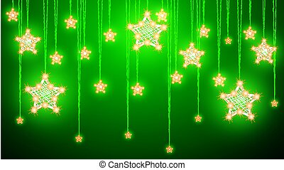 Hanging Christmas decorations of stars on a green background