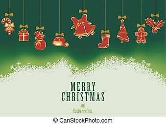 Hanging Christmas Elements Background