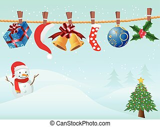 hanging Christmas gifts in snowing background