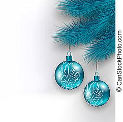 Hanging Christmas glass balls on fir twigs