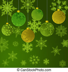 Hanging Christmas Ornaments with Snowflakes Background