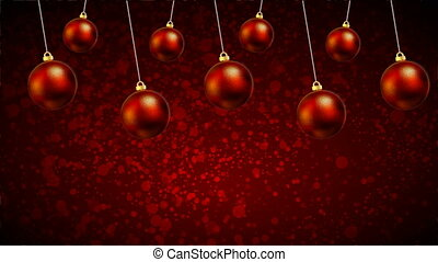 Hanging Christmas red balls on a red background bokeh