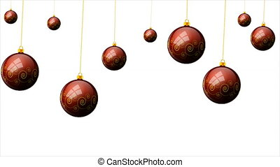 Hanging Christmas red balls with a pattern on the background...
